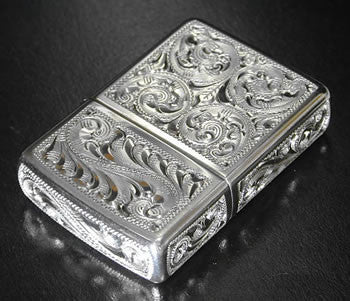 Zippo Lighter Silver King 5 sides hand carving 15 SLV 3 Sterling silver Regular Type