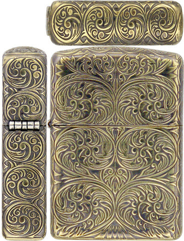 Zippo Lighter Armor Antique Arabesque A Carving 5 Sides Brass Mate Working