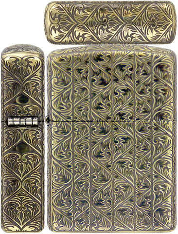 Zippo Lighter Armor Antique Arabesque B Carving 5 Sides Brass Mate Working