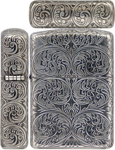 Zippo Lighter Armor Antique Arabesque C Carving 5 Sides Silver Mate Working