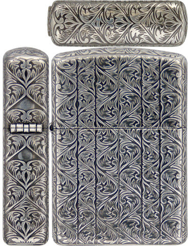 Zippo Lighter Armor Antique Arabesque D Carving 5 Sides Silver Mate Working