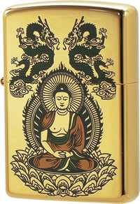 Zippo Lighter Buddha Incoming Sterling Gold Plating K24GP