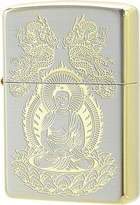 Zippo Lighter Buddha Incoming Silver10 & Sterling Gold Work
