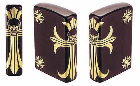 Zippo Lighter Limited 150 Side Scull Cross Black & Gold