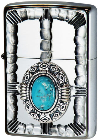 Zippo Lighter Native Metal 2 Natural Stone Turquoise NM2-TQ