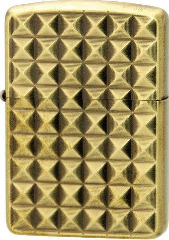 Zippo Lighter Armor Binary Form Pyramido A Antique Brass