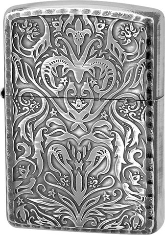 Zippo Lighter Armor Antique Floral B Silver Oxidized