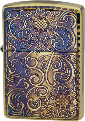 Zippo Lighter Armor Antique Floral C Brass Oxidized