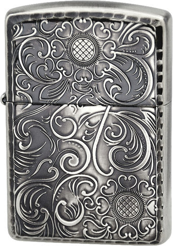 Zippo Lighter Armor Antique Floral D Silver Oxidized