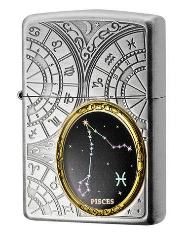 Zippo Lighter 12 Constellation Metal Piscess