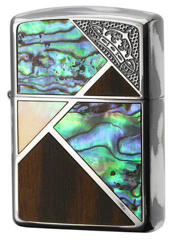Zippo Lighter Armor Corner Crown SV Natural-shell Wood Inlay