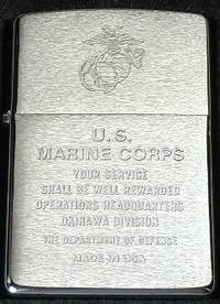 Zippo Lighter Discontinued Item OKINAWA American force Chrome brash 200 US Marine OKINAWA
