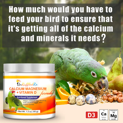 UnRuffledRx Calcium, Magnesium +D3 Calcium Supplement for birds