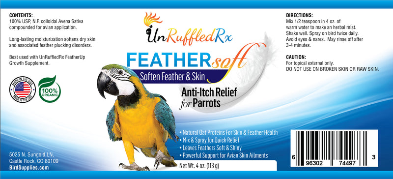 UnRuffledRx FeatherSoft Anti-itch for Parrots