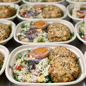 Roasted Salmon and Quinoa Cakes (GF)
