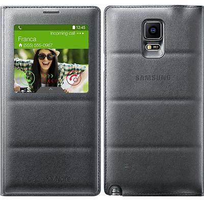 GENUINE SAMSUNG GALAXY NOTE 4 SM-N910 S-VIEW FLIP CASE COVER CHARCOAL BLACK
