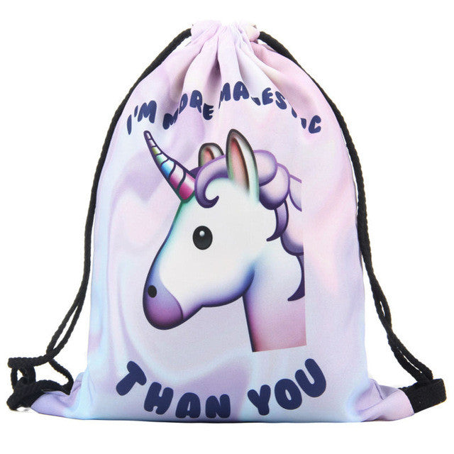 "Unicorn ""I'm More Majestic Than You"" Drawstring Bag"