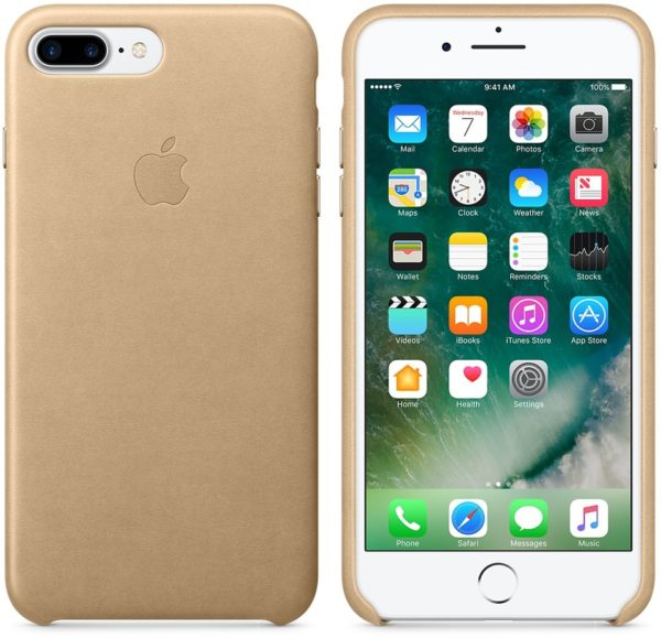Official Apple iPhone 7 Plus 8 Plus Leather Back Case Cover - Tan