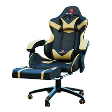 Astro Pro Racing Gaming Office Chair + Foot Rest Lumbar Support Pu Leather Black/Gold