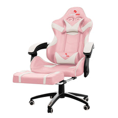 Astro Pro Racing Gaming Office Chair + Foot Rest Lumbar Support Pu Leather Pink/White