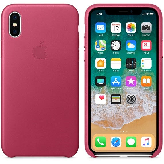 Official Apple iPhone X XS Leather Back Case Cover - Fuschia Pink
