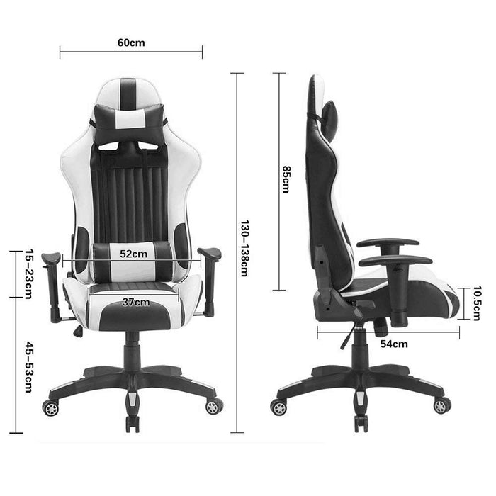 Racing Gaming Office Chair Lumbar Support Swivel Pu Leather - Black/White