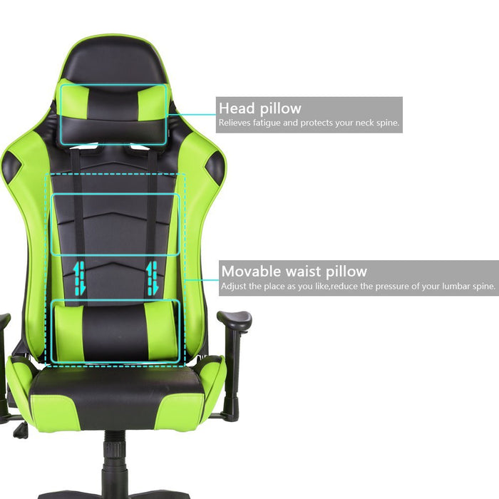 Racing Gaming Office Chair Lumbar Support Swivel Pu Leather - Black/Green