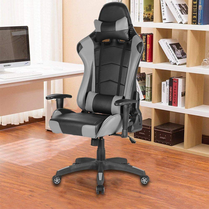 Racing Gaming Office Chair Lumbar Support Swivel Pu Leather - Black/Grey