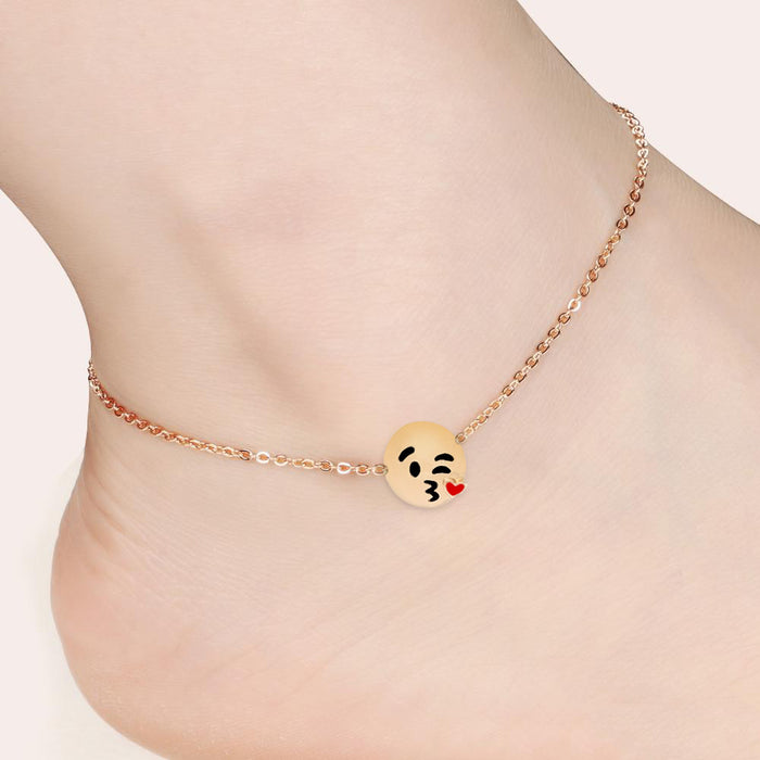 Emoji 18k Gold Plated Single Charm Anklet Doohickey Hut