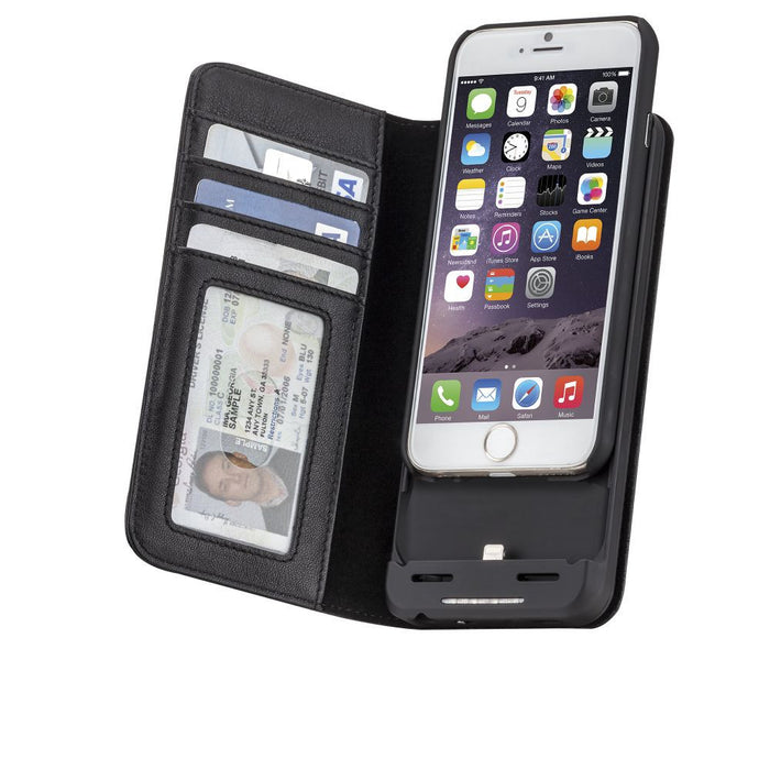 Case-Mate Charging Leather Wallet for Apple iPhone 6/6s in Black