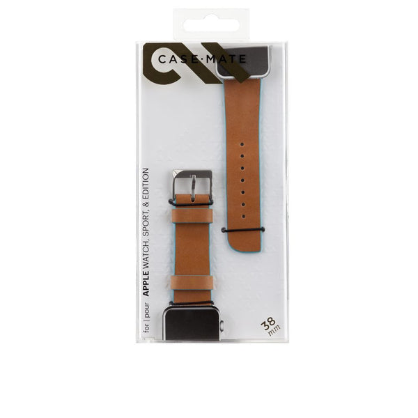Case-Mate Edged Leather Strap for 38mm Apple Watch in Tan/Cerulean Blue