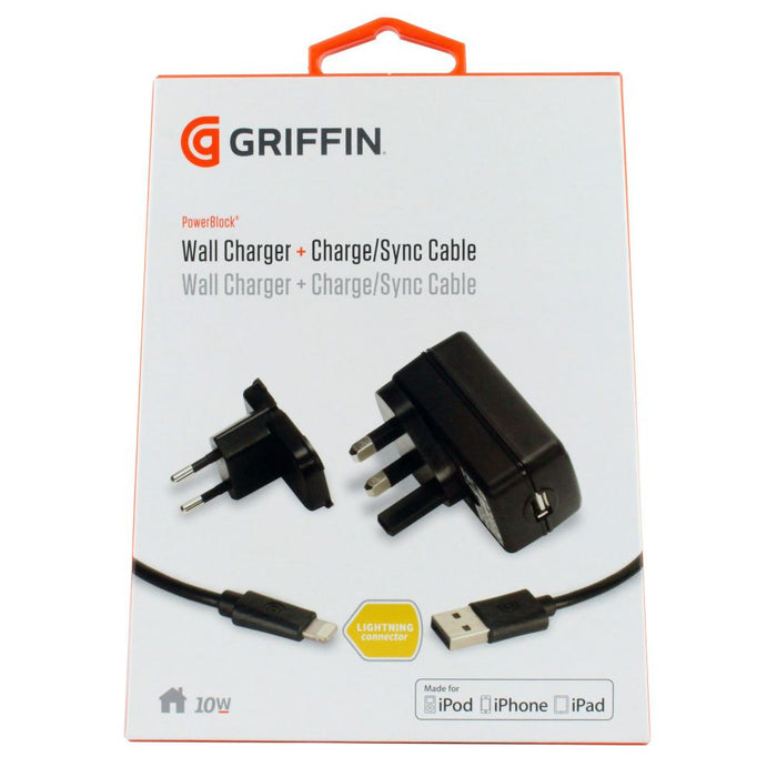 Griffin Technology PowerBlock Lightning Mains Wall Charger 2Amp (Detachable Cable) - EU / UK