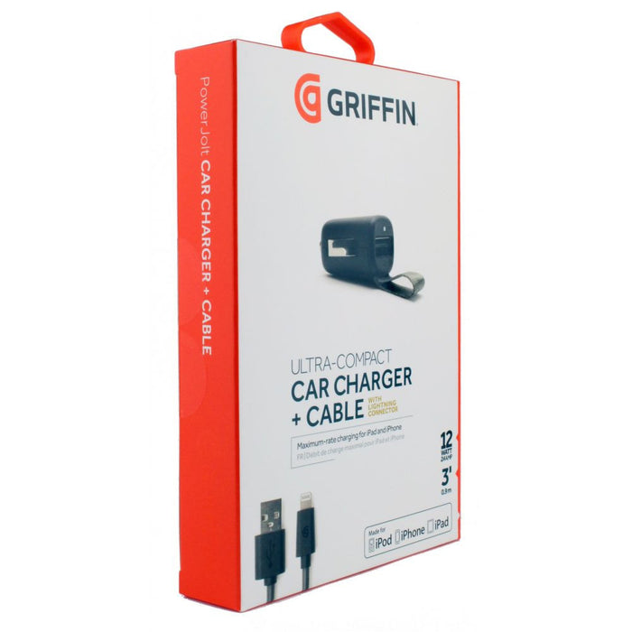 Griffin PowerJolt Lightning  12W Car Charger with pull tab in Black
