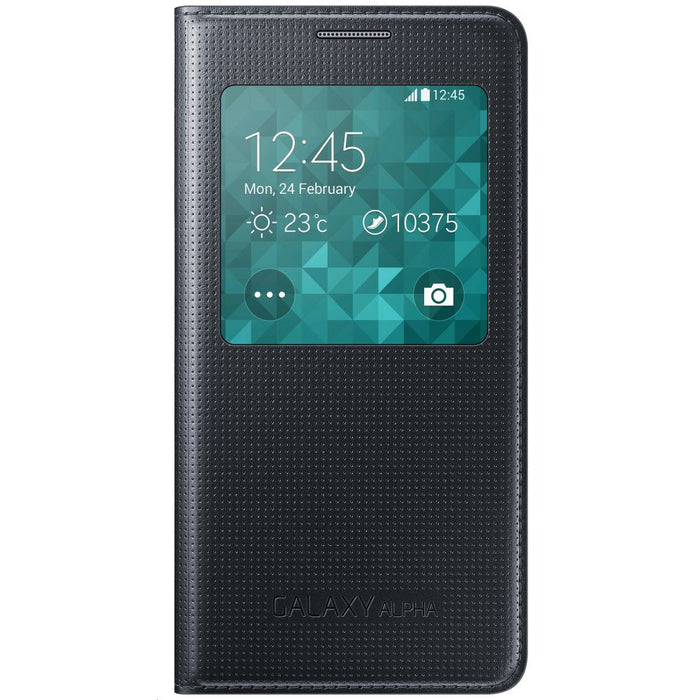 Samsung S View Flip Cover Case for Samsung Galaxy Alpha - Black