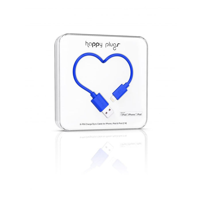 Happy Plugs Lightning Cable in Cobalt Blue