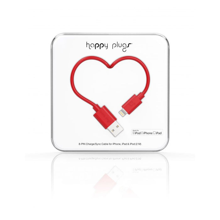 Happy Plugs Lightning Cable in Red