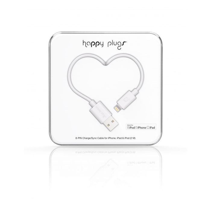 Happy Plugs Lightning Cable in White