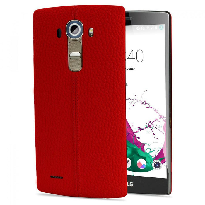 LG Leather Battery Back Cover Case for LG G4 in Burgandy Red