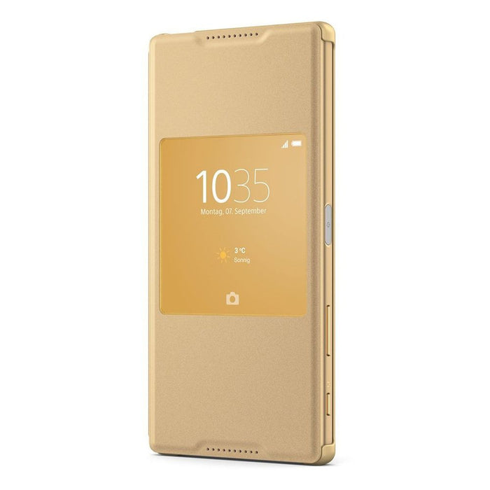 sale retailer 82960 112cc Sony SCR46 Style Cover Window Case for Sony Xperia Z5 Premium in Gold