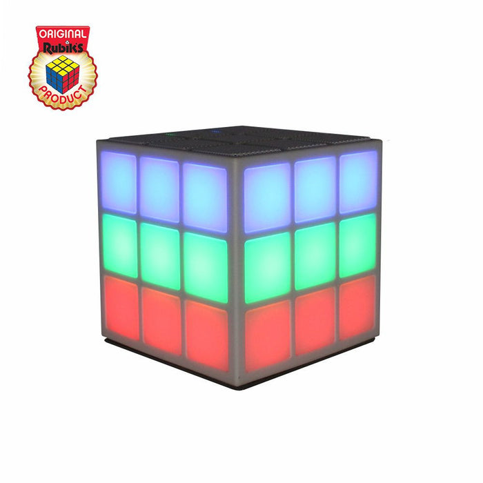 Rubiks Bluetooth LED Speaker with Built-in 360 degree Light Show in White