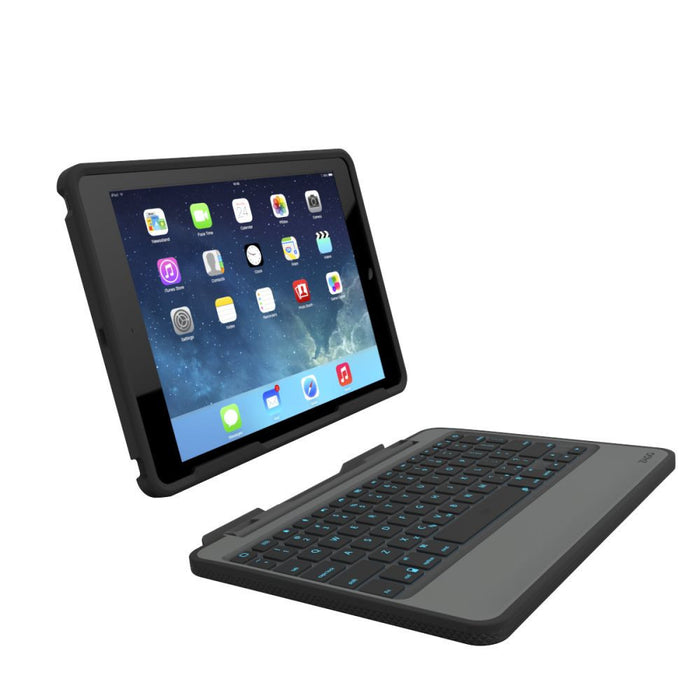 Zagg Rugged Book Case with Wireless Bluetooth Keyboard for Apple iPad Air 2 in Black