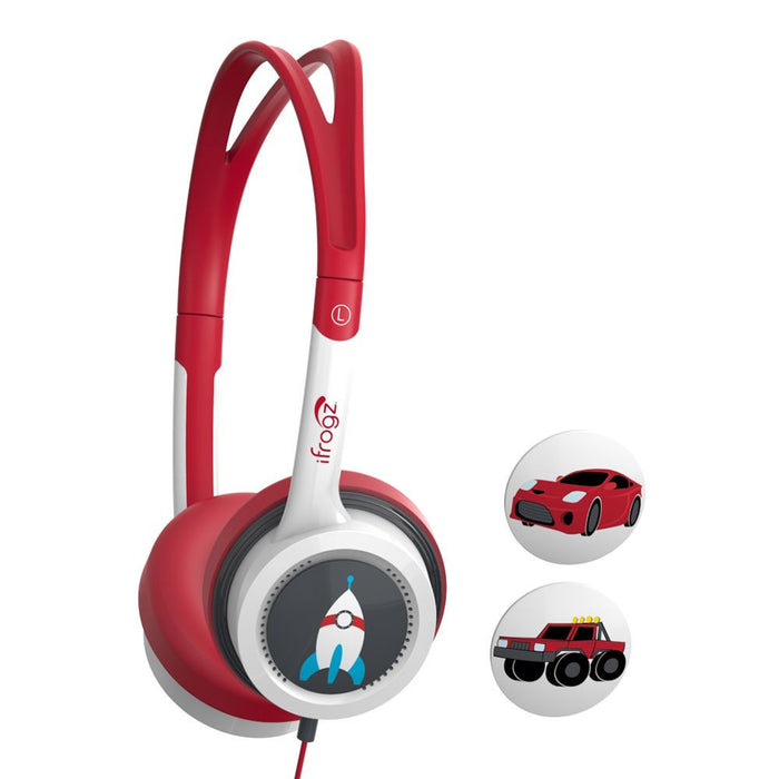 iiFrogz Little Rockers Kids Car, Truck and Rocket Headphones in Red