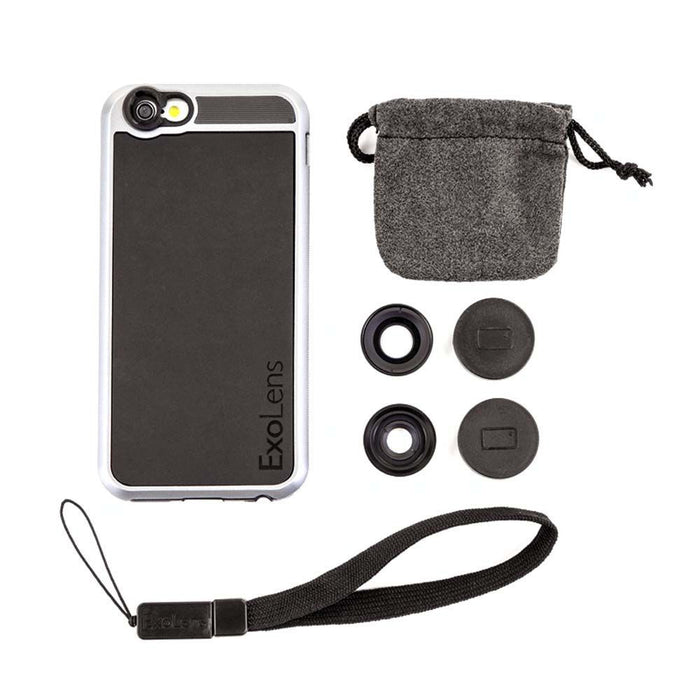 ExoLens Case and 2 Lenses for Apple iPhone 6/6s in Black/Silver