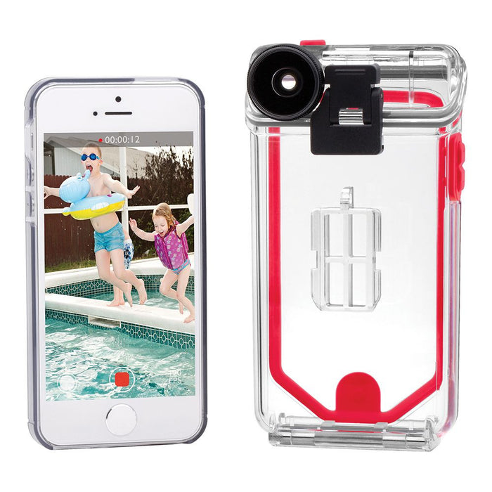 new style ac4ef f40eb Optrix Waterproof Action Camera Case with 4 Lens Kit for iPhone 5/5s/SE  (Pro) in Clear