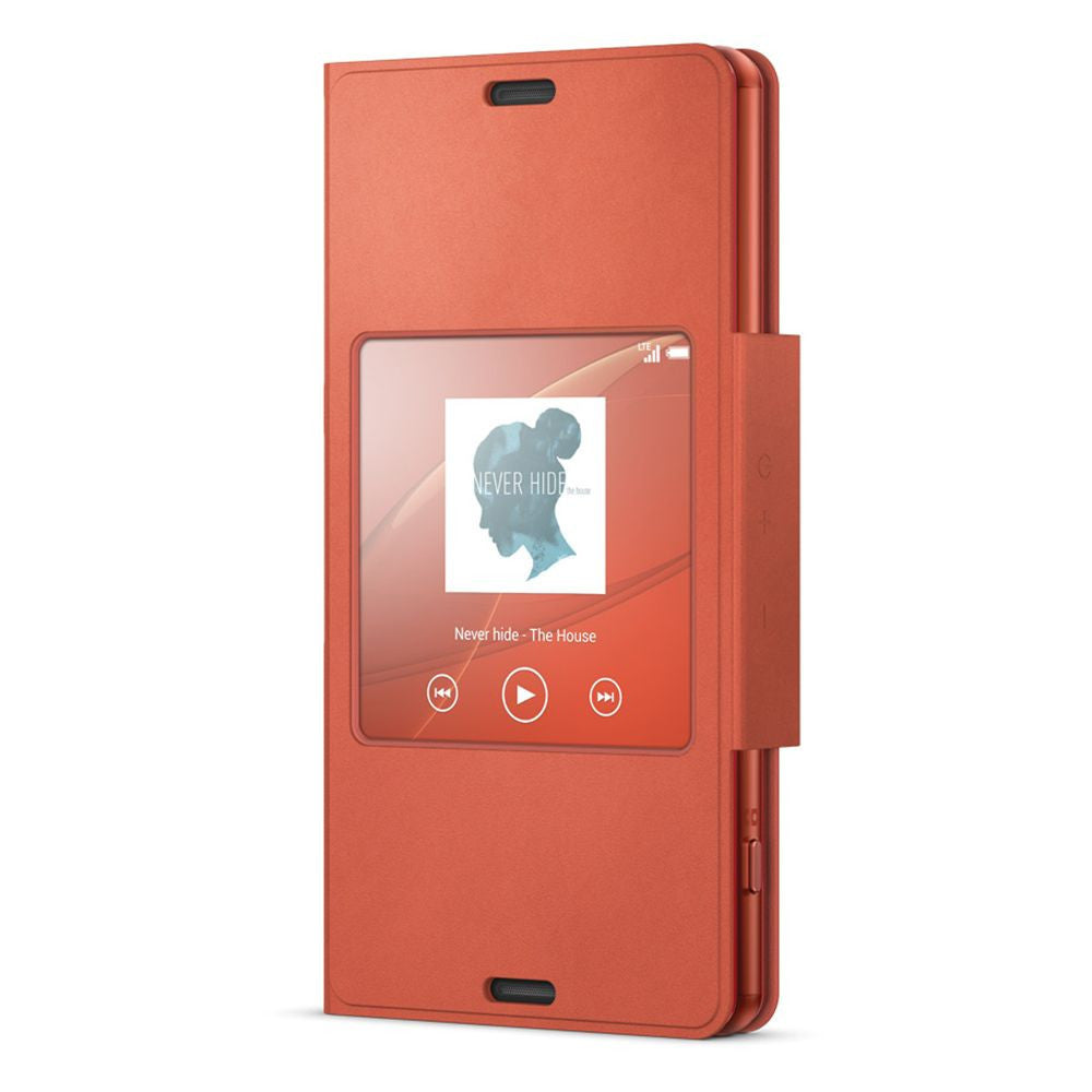Sony SCR26 Style Cover Window Case for Sony Xperia Z3 Compact in Sunset Orange