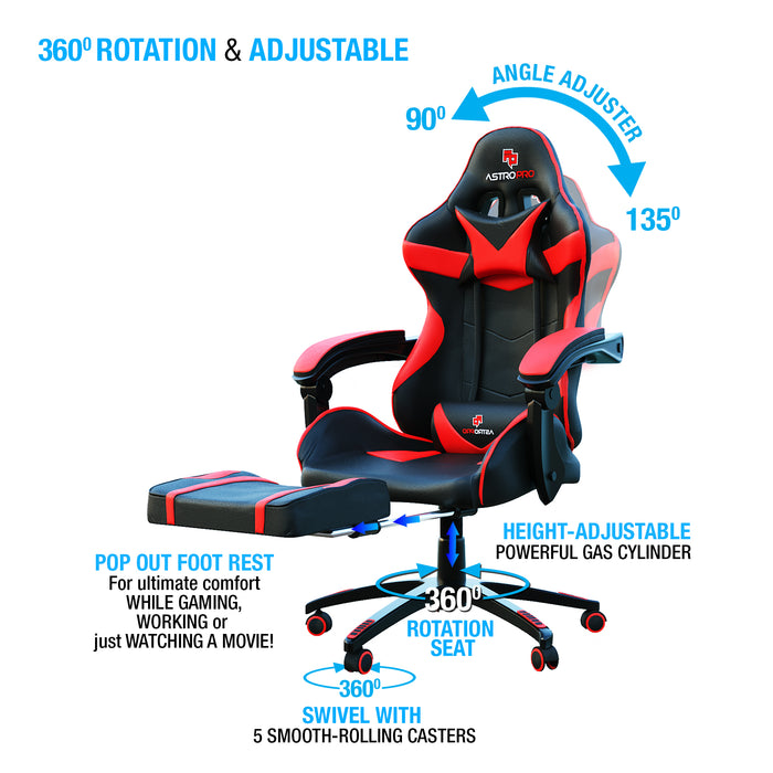 Astro Pro Racing Gaming Office Chair + Foot Rest Lumbar Support Pu Leather Black/Green
