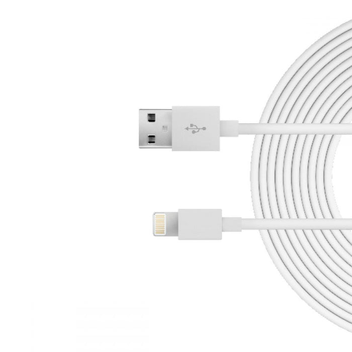 Just Wireless 3m Apple Lightning Charge and Sync Cable in White
