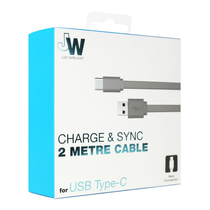 Just Wireless 2m USB Type C Charge and Sync Cable in Grey