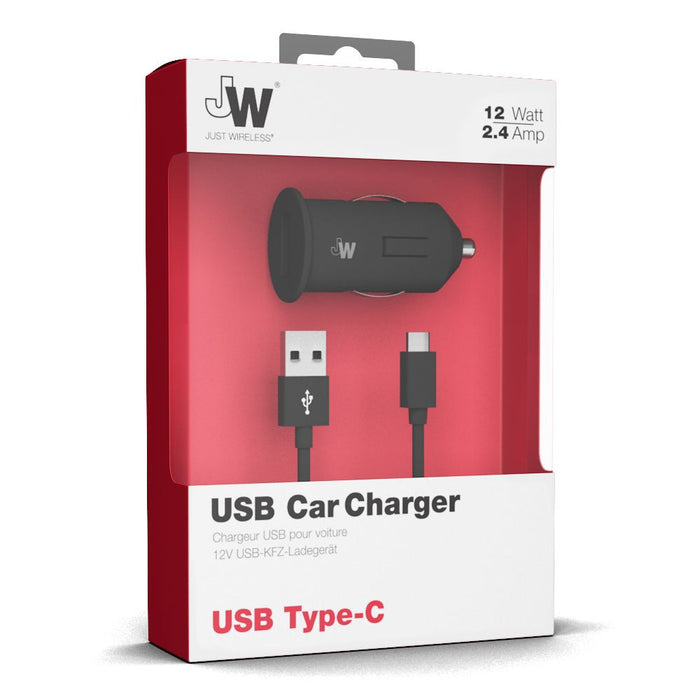 Just Wireless 2.4A USB Type C Car Charger in Black