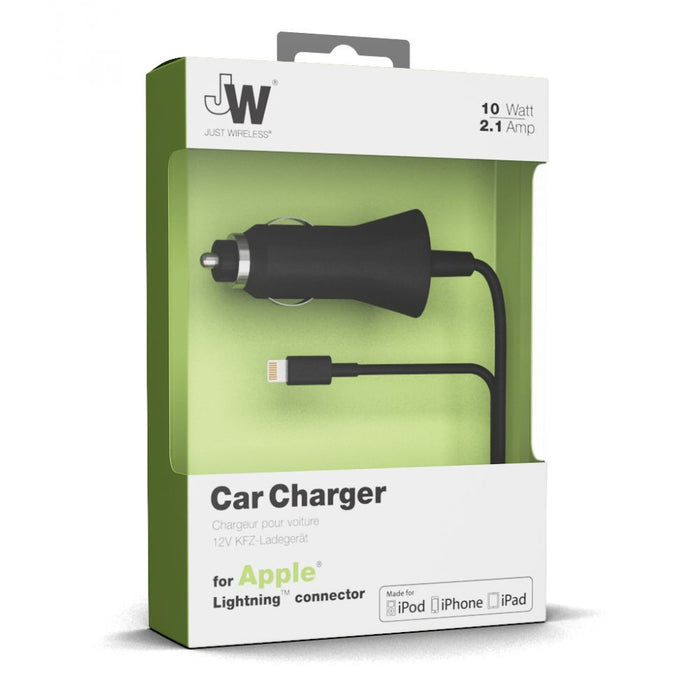 Just Wireless 2.1A Lightning Corded Car Charger in Black